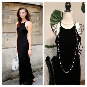Black velvet stretch maxi dress with  low back